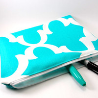 Flat Aqua and White Moroccan Print Makeup Bag, Gadget Case, Under 15, Pencil Case, Medium, Zippered, Cosmetic Case, For Her