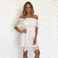 Dottie Lace Off Shoulder Dress In White