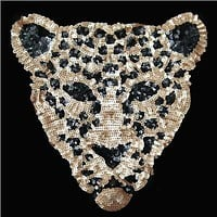 Sequins patch leopard head DIY clothes patches for clothing Sew-on embroidered patch motif beaded applique deal with it crafts