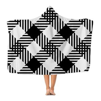 Black and White Plaid Style Premium Adult Hooded Blanket