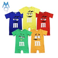 2018 Summer Newborn Baby Boy Girl Rompers Short Sleeve Cotton Jumpsuit Cartoon Printed Baby Costume Infant Clothes