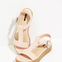 Faux Patent Leather Flatform Sandals