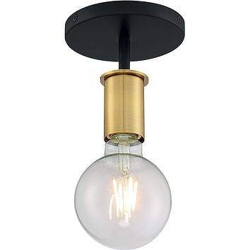 "5""W Ryder 1-Light Close-to-Ceiling Black / Brushed Brass"