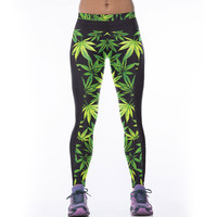 Trend High Elastic Women Leggings Sports Pants 3D Green Leaf Leaves Weeds Fitness Leggins Jeggings Ropa Mujer Gym Clothes