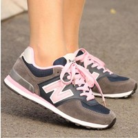 DCCK8NT new balance fashionable women men comfortable leisure sports shoes grey pink n