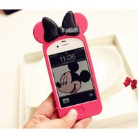 3D Disney Mickey Minnie Mouse Ear Hello Kitty Case Back Cover for i Phone 4 4S S