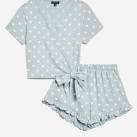 Polka Dot Jersey Wrap Set - New In Lingerie & Nightwear - New In