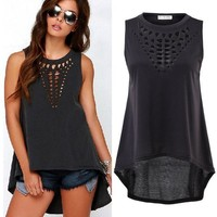 Sexy Women Retro Hollow Tank Tops Vest Top Sleeveless Casual Loose Shirt Blouse = 5618790657