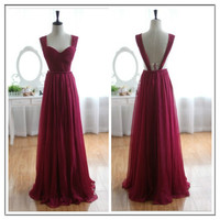 WowDresses — Enhancing Burgundy A-line Straps Neckline Floor Length Prom Dress