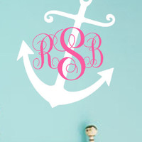 Nautical Anchor Monogram Personalized Wall Art Decal