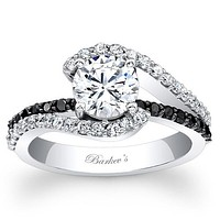 Barkev's Swirl Whisper Halo White & Black Diamond Engagement Ring