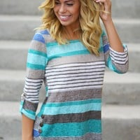 Jade 3/4 Sleeves Striped Top With Buttons