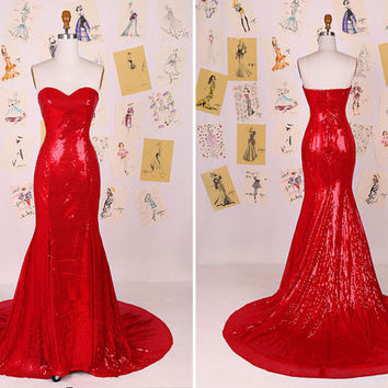 Red Sweetheart Neckline Mermaid Sequin Prom Dress/Sexy Red Sequin Evening Gown/Long Mermaid Prom Dress/Shiny Sequin Party Dress