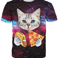 Taco Cat T-Shirt cute cat kitten with blue eyes eating tacos pizza in space galaxy t shirt tshirt