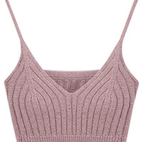Pink V-Neck Knitted Crop Top
