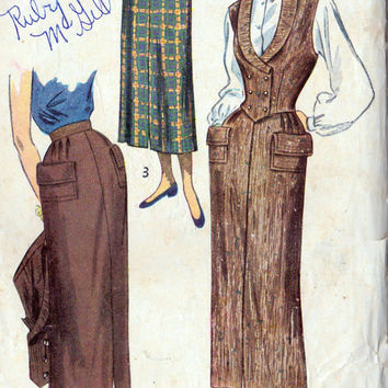 1940s Misses' Skirt and Weskit Vintage Sewing Pattern, Office Fashion, Simplicity 2943 bust 30""