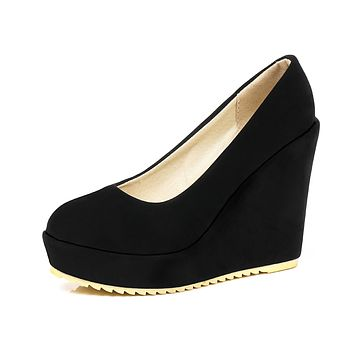 Spring and Autumn Super High Heel Shallow Toe Platform Wedges Shoes Woman