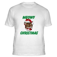 Meowy Christmas Fitted T-Shirt> Meowy Christmas> Flamin Cat Designs