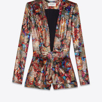 Playsuit in multicolor floral and gold lamé