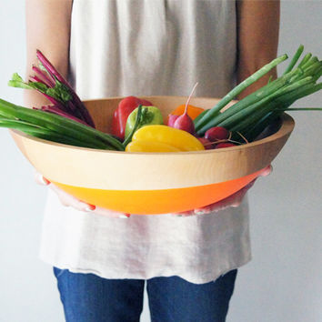 "Salad and Fruit Serving Bowl 15"" Large, Color Dipped BEECH Wood"