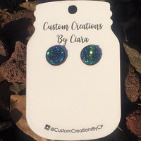 Midnight Dream Blue and Green Stud Earrings, Faux Druzy Earring, Druzy Earrings, Stone Earring, Stone Jewelry, Boutique, Stud