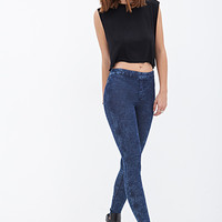 FOREVER 21 Mineral Wash Jeggings Dark Blue