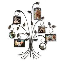 Brown Black Decorative 7-Opening Collage Bronze Iron Metal Wall Haning Picture Photo Frame