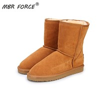 Warm Winter Suede and Plush Wool Snow Boots