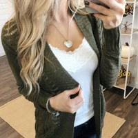 Open Front Pointelle Cardigan- Olive
