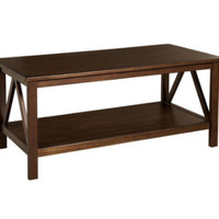 Contemporary Coffee Table Spacious Living Room Furniture Antique Tobacco Finish