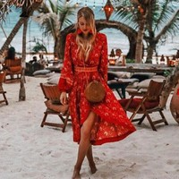 Luxury Brand Cotton Red Boho Dress Vintage Rayon Floral Print Long Dresses Long Sleeve Dress Women Dress Hippie Vestidos
