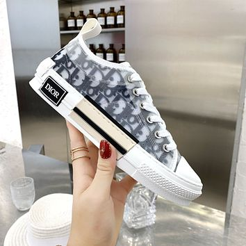 Dior CD mesh lace-up sneakers low-top flat sports hip-hop sneakers letter high-top shoes men and women casual shoes 3
