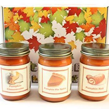 """Fall Scented Candle Collection Set, """"Pumpkin Fest"""" - Pumpkin Pie Spice, Pumpkin Roll, Pumpkin Cheese Cake, Three 12 Ounce Candles"""