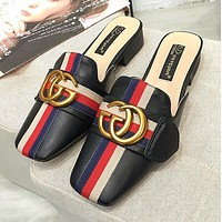 Gucci Summer Newest Women Casual Stripe Sandal Slipper Shoes Black