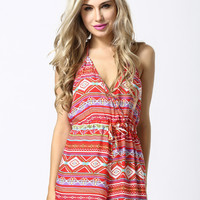 Red Tribal Print Backless Romper