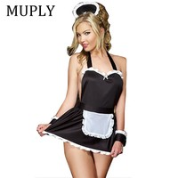Maid Uniform Costumes Role Play 2018 New Women Sexy Lingerie Hot Sexy Underwear Lovely Female White Pocket Erotic Costume