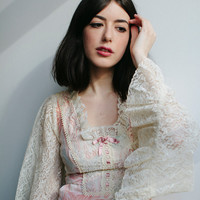70s Lace Bell Sleeve Floral Mini Dress   Pink Floral   Empire Waist