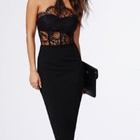 Black Halter With Lace Dress