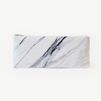 White grey marble full organic cotton pencil case, zipper pouch, white and grey, print organic fabric, marble pencil pouch, back to school