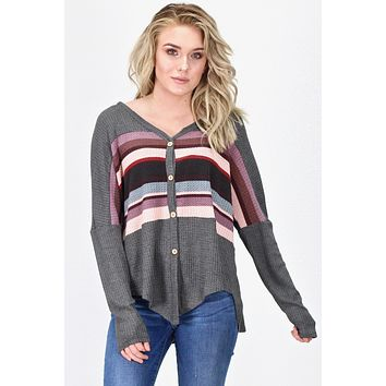 Multi-Color Striped Waffle Knit L/S {Charcoal} - Size SMALL