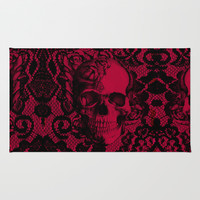 Gothic Lace Skull in red and black. Area & Throw Rug by Kristy Patterson Design