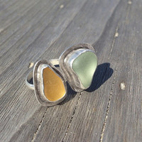 Choose and Design Your Own Double Bezel Seaglass Ring