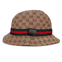 GUCCI Popular Women Men Simple Red Green Stripe Fisherman Hat Basin Hat Folding Sun Hat Street Dance Skateboard Hat Cap Khaki