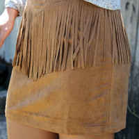 Days of Suede Camel Bodycon Skirt With Fringe Front & Back