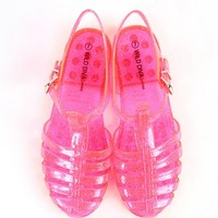Wild Diva Gia-01 Clear Neon Jelly Sandals   MakeMeChic.com