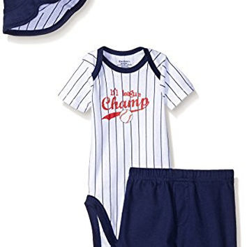 Gerber Baby Three-Piece Bodysuit, Short and Bucket Hat Set, Baseball, New Born