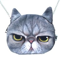 Grumpy Cat Face Shaped Grey Tabby Photo Digital Print X Body Shoulder Bag