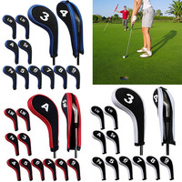 12Pcs Rubber Neoprene Golf Head Cover Golf Club Iron Putter Protect Set Number Printed with Zipper Long Neck