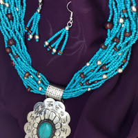 Turquoise Multistrand Flower Blossom Necklace Set