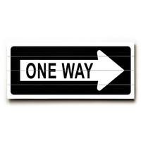 One Way Right Arrow by Artist Cory Steffen Wood Street Sign